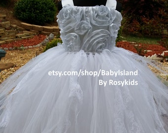 10% off bride flower girl TuTu dress, birthday girl tutu dress, rosette top, lace flower girl tutu, all size, wedding, pictures, party