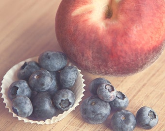 """Fruit Photograph - Kitchen Decor - Peach, Blueberries - Red White Blue, Still Life Photo, """"Peach and Blueberries"""""""