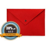 ON SALE-- A4 Paper File Document Folder Bag Case With Snap Closure Horizontal Stationery Made of Felt-Red