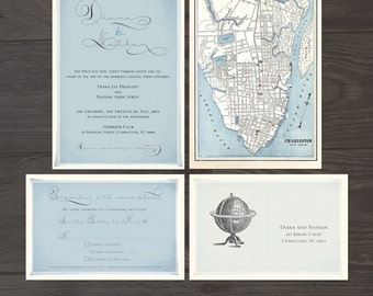 Vintage Globe Wedding Invitation and RSVP Card - Elegant Vintage Wedding Suite with Historic Map Destination wedding invitation