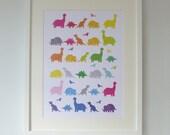 Rainbow Dinosaurs Nursery Print - T-Rex - Modern Children's Art Poster in A4, A3, 8 x 10 & 11 x 14 prints