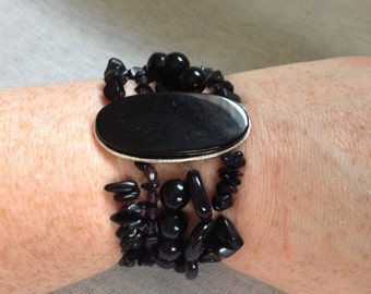 Vintage Costume Black Stone Stretch Bracelet with Black Glass Pendant Center
