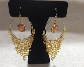 Vintage Costume Goldtone Yellow Beaded and Yellow Gem Center Dangle Earrings