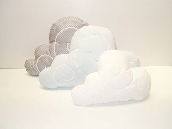 Cloud Pillows (3)  - Nursery Decor - Kid Pillow -Light grey and white polka dot - Blue - Dark Grey