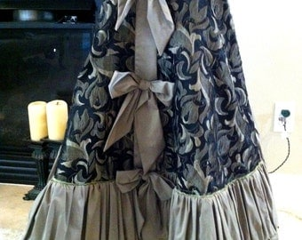 READY TO SHIP!  Black Taupe/Tan and Green Tree Skirt, 2484