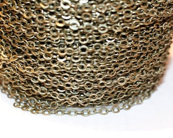 15ft Antique Brass Chain- Cable Chain-Soldered- 3.5x2.5mm
