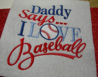 I Love Baseball Embroidery Shirt or Bodysuit