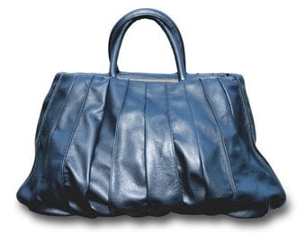 This Navy Blue, high end, real leather handmade panel bag /   Ready To Ship