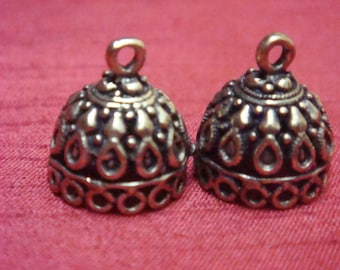 Bronze plated  small jhumkas or Indian hanging earring bases x 2, 13mm, free combined shipping
