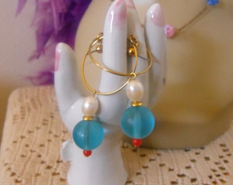 Vintage Earrings Designer AVON/ Color Fun/Aqua Coral Pearl Dangle Long