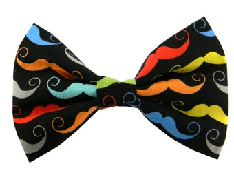 Mustache Dog Bow Tie, Dog Collar Bow Tie, Collar Accessory: Colorful Stache