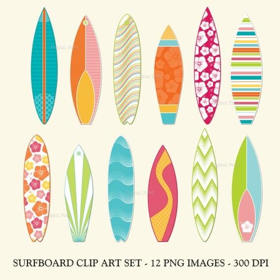 Surfboard clip art set printable summer digital clipart