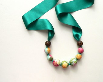 Turquoise necklace, wooden necklace, statement necklace, summer necklace, floral