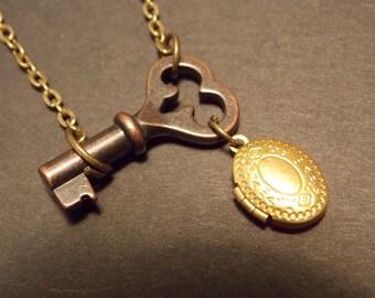 Steampunk Skeleton Key and Locket Necklace