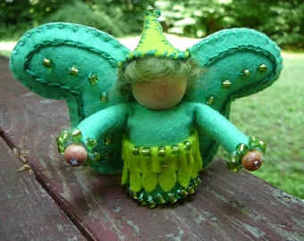 Green Boy Wool Felt Fairy, Peg Doll Fairy, Waldorf Inspired, One of a Kind, Miniature Fairy Peg Doll