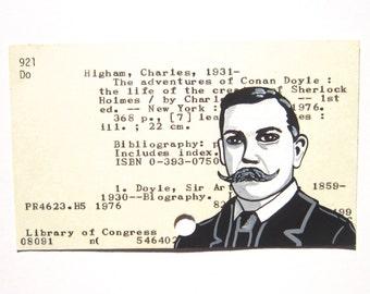 Sherlock Holmes Author Library Card Art - Print of my painting of Sir Arthur Conan Doyle, creator of Sherlock Holmes