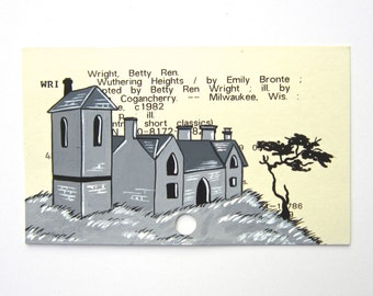 Wuthering Heights Library Card Art - Print of my painting of eerie estate on library card for the book Wuthering Heights
