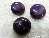 Vintage Acrylic Pruple Marble Metal Shank Buttons, 3 buttons (414-47)