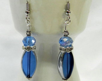 Blue glass beads and silver drop Earring