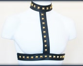 Black Harness with Gold Studs - Belt and Choker in One, Cynt D B