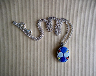 Blue Mosaic Necklace, Mosaic Art Pendant, Handmade Jewelry, Oval Silver Pendant, Geometric Jewelry, Mosaic Jewelry, Casual Artisan Jewelry