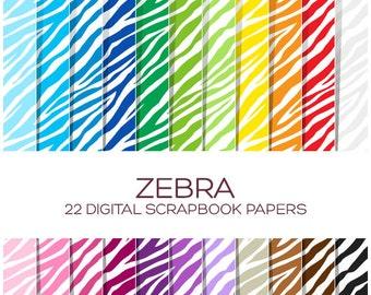 Zebra Digital Paper Animal Print Digital Paper Digital Scrapbook Safari Digital Paper Zebra Clipart Safari Clipart Zoo Animal Clipart-P00016