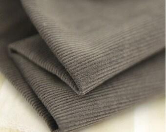 "Fine Wale Cotton Corduroy - Khaki Gray - 56"" Wide - By the Yard 48246"
