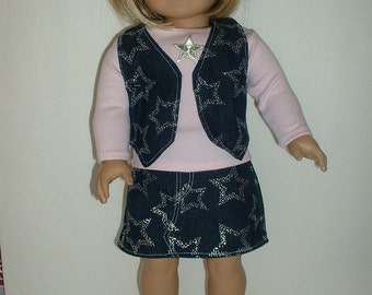 Western denim skirt and vest fits American girl 18 inch doll clothes