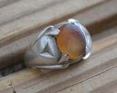 Beautiful antique sterling silver edwardian art deco agate mens ring hallmarked clark & coombs