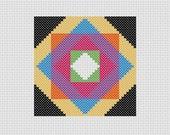 Cross Stitch PDF Pattern Quilt Block Colorful Easy Beginner
