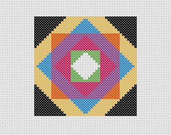 Cross Stitch PDF Pattern Quilt Block Colorful Easy Beginner