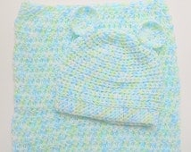 Newborn Sleep Sack And Infant Hat With Ears  Boy Bunting Set Baby Girl Cocoon With  Cap  0 To  6 Months  Pastel Blue Green White Beanie