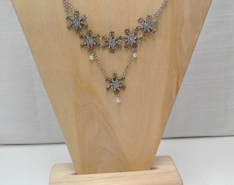 Silver Pearl Floral Tiered Necklace