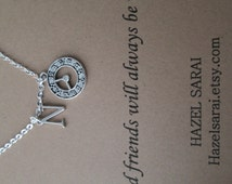 Clock, Initial Friendship Necklace- Friend Quote Card