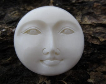 Gorgeous 25mm  moon face with open eye  in Carved Bone Cabochon, Jewelry  making supplies B4159