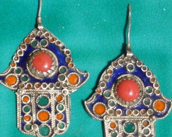 Vintage pair of India Silver Hand of Fatima Enamel Work Jewelry Finding