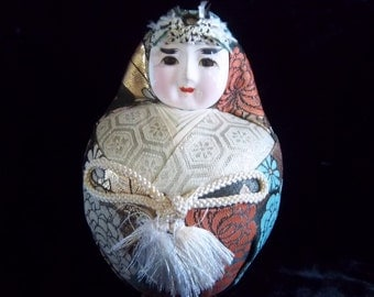 Antique Rare Round Geisha Doll Figurine Japanese Ningyo - Vintage Asian Home Decor