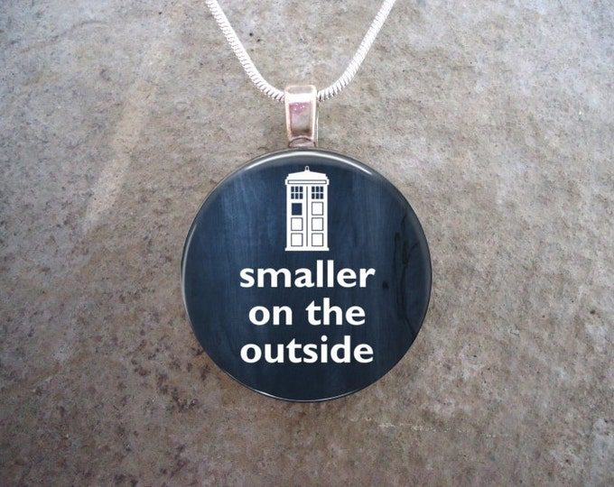 Doctor Who Jewelry - Glass Pendant Necklace - Smaller on the Outside