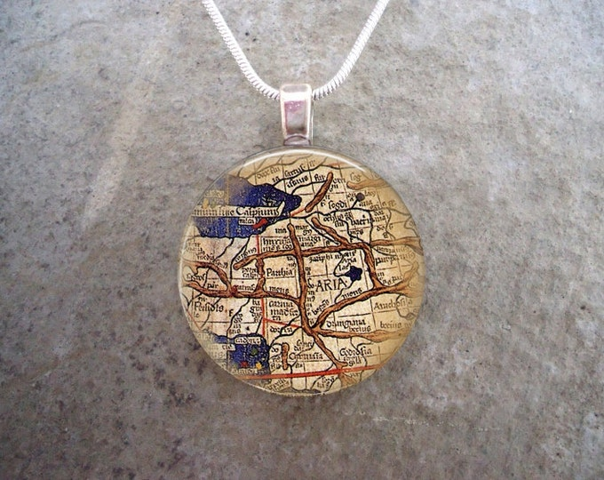Map Jewelry - Glass Pendant Necklace - Map 12 - RETIRING 2017