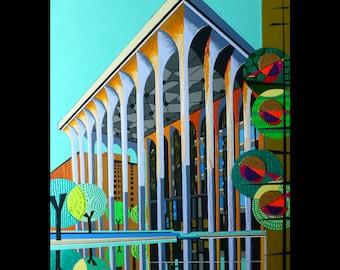 Retro bird, Minneapolis, ING Building, Mid Century Modern inspired, 8x10 print, mod birds,, vintage modern, danish modern