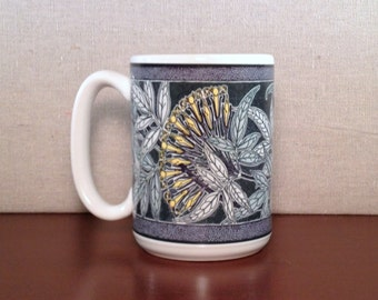 Large 15 ounce American-made Coffee Mug with Art Nouveau Jasmine Design