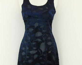 Vintages 1990s Blue Velvet Sheer Grunge Mini Dress