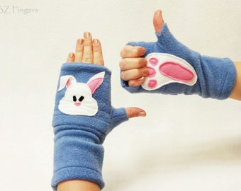 Bunny and Footprint Custom Fingerless Gloves with Pockets