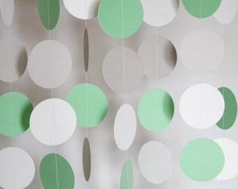 Pastel Green, Gray and White Paper Garland, Baby Shower, Circle Garland, Nursery, 10 feet long