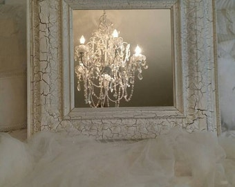 SALE Fabulous Shabby Chic Crackled Finished Large Mirror Paris Apt Hollywood Regency Cottage Beach Chic