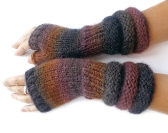 Brown, soft alpaca fingerless gloves, hand knitted fingerless