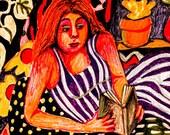 Woman Art, Woman Print, Whimsical Girl Art, Art For Women, Girl Wall Art, Orange And Purple, Girl Reading by Paula DiLeo_