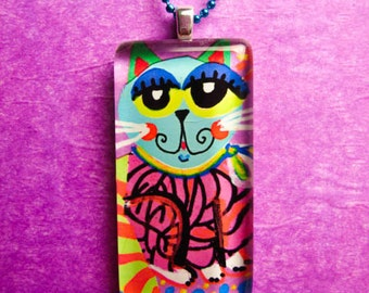 Cat Necklace, Cat Art Print, Cat Jewelry, Cat Art, Gift For Girls, Cat Art, Cat Collage, Cat Print by Paula DiLeo