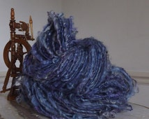 The Blues - Art yarn - Teeswater lock spun yarn thick and thin worsted weight