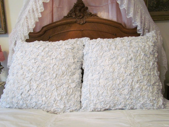 Vintage Shabby Chic Pillow Shams : Blue And White Chic Shabby Ruched Euro Sham Pair Reversible